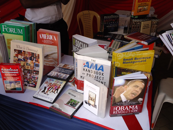 Some of the books which were on display at the U.S. Embassy Tent