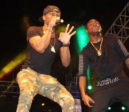 Davido performing at The Serengeti Fiesta Festival 2014 grand finale with Diamond: