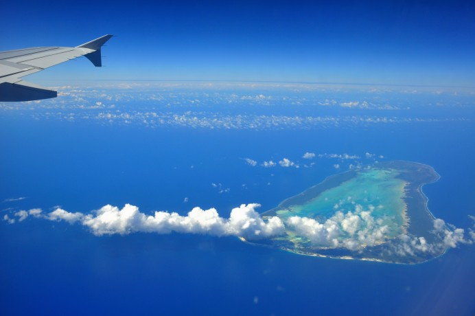 Airplane view of an island